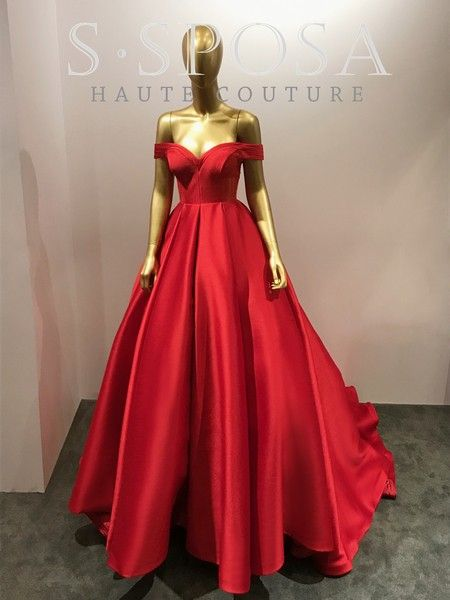 A Line Off Shoulder Sleeves Red Prom Dress Moda
