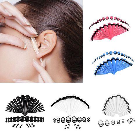 Women 36Pcs Fashion Ear Gauge Taper Tunnels Plug Starter Expander Stretching Kit #ebay #Fashion