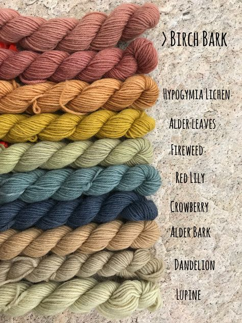Natural dyeing yarn colors so many different colors using nothing but nature!You can find Natural dyeing and more on our webs. Natural Dye Fabric, Natural Dyeing, Fabric Painting, Fabric Art, Textiles, Yarn Crafts, Fabric Crafts, Spinning Yarn, Dyeing Yarn