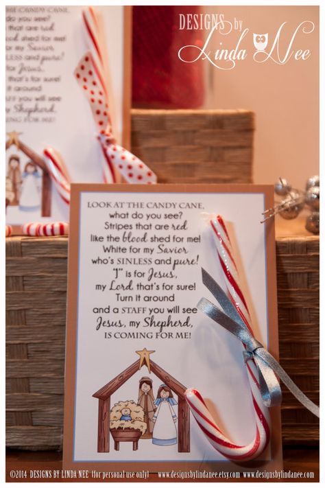 Legend of the Candy Cane Nativity Card, Printable Christian Card for Witnessing at Christmas, Jesus