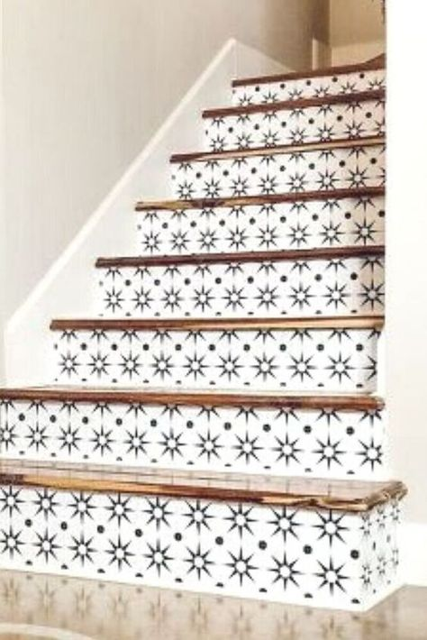 Give your boring builder grade stairs an easy update with this cheap stair upgrade idea. Quick and easy stair makeover idea to decorate on a budget. #hometalk
