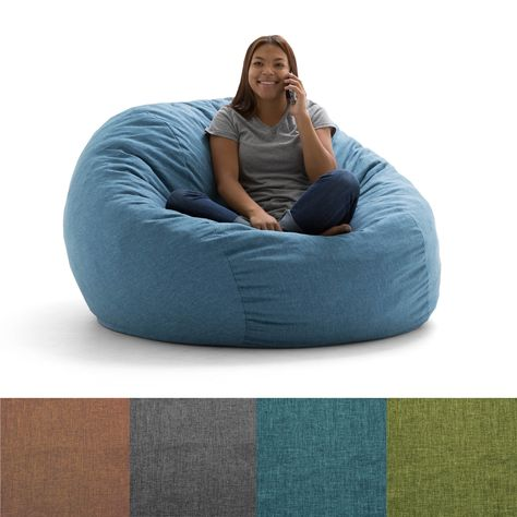 Marvelous Fufsack Big Joe Lux Linen And Memory Foam Bean Bag Chair Machost Co Dining Chair Design Ideas Machostcouk