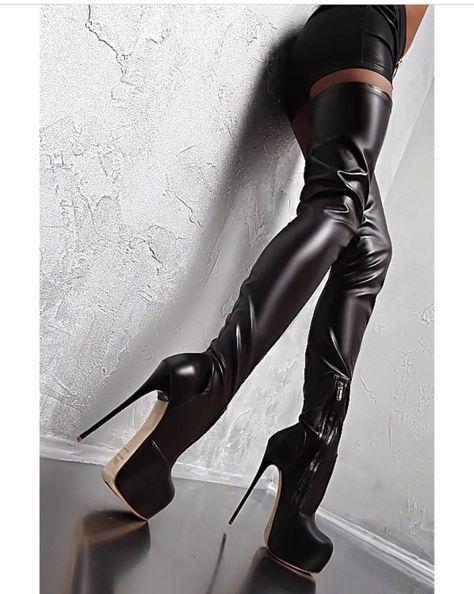 Platform Heels Women Over The Knee Boots Soft Leather Thin high Heel Platform Boots Winter Autumn Boots Warm Big Size