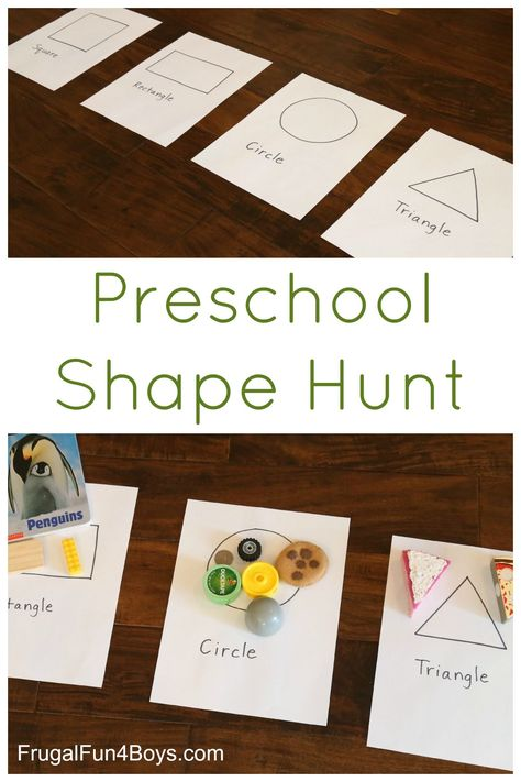 Preschool Shape Hunt - A super simple shape activity for preschoolers that requires only a minute to set up (summer fun for kids learning) Preschool At Home, Preschool Lessons, Preschool Classroom, Classroom Activities, Preschool Crafts, Preschool Shape Activities, Montessori Preschool, Preschool Scavenger Hunt, Montessori Elementary