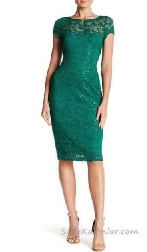 Midi Boy Elbise Modelleri Yesil Kisa Kollu Gupur Dantelli The Dress Elbise Modelleri Elbise