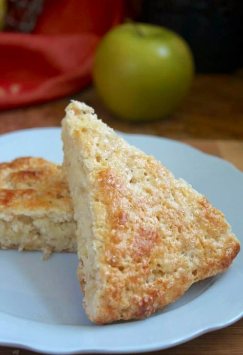 two apple scones on a blue plate