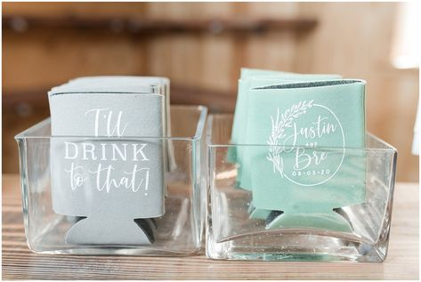 Wedding custom drink koozie | Sage Green and Gray Summer Wedding at Oak Hills | Jessie and Dallin Photography #utahwedding #utahweddings #utahweddingvenue #utahweddingvenues #utahweddingvendors #utahweddingphotography #utahbride #utahbrideandgroom #oakhills #mountainwedding #utahweddingphotographer #sagegreen #candidwedding #rockymountainwedding #weddingday