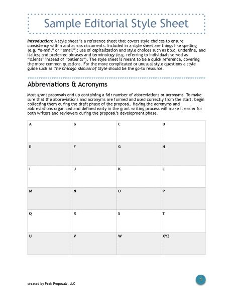 Sample Editorial Style Sheet - Free Download Keep your grant - bid proposal sample