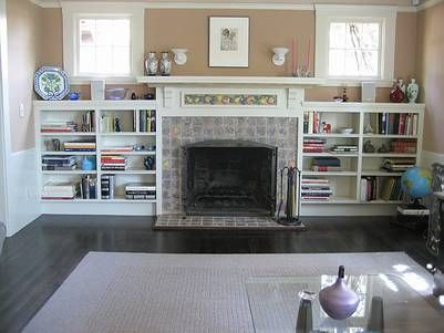 fireplace surround with cabinets or shelves built-in beside it (would want  darker, but like the built-in bookshelves next to the fireplace, very co