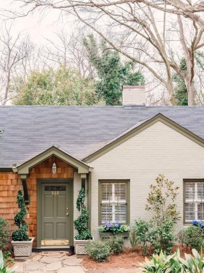 Cottage Style Home With Brick And Cedar Shake Siding Exterior Color Scheme Possibly Cedar Shu Painted Brick House Brick Exterior House House Paint Exterior