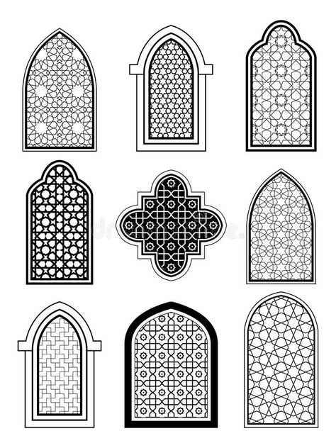 Discover Arabic or Islamic traditional architecture, set of window vectors stock and millions of other photos, illustrations and vectors Free Stock Photos collection of Shutterstock. They added thousands of new high-quality images every day. Mosque Architecture, Cultural Architecture, Architecture Plan, Architecture Sketches, Islamic Art Pattern, Pattern Art, Motifs Islamiques, Islamic Decor, Prayer Room