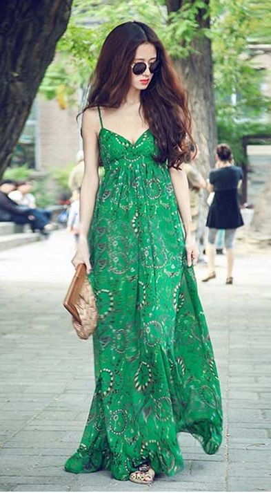 Summer boho green maxi dress