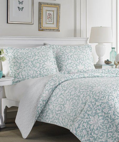 Laura Ashley Home Blue White Mia Reversible Quilt Set Zulily