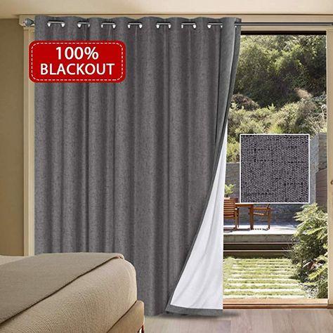 H Versailtex 100 Blackout Patio Door Linen Curtains For Sliding Door Extra Long And Wide Blinds Therma Sliding Door Curtains Door Curtains Sliding Glass Door
