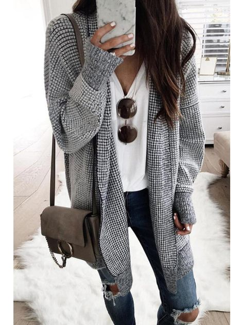 Stand Collar Long Sleeve Plaid Cardigan Details: Material: Blended Style: Casual Version: Slim Fit Craft: Collage, Stitching Pattern: Lattice Sleeve Length: Long Sleeve SIZE(IN) US Bust Top Length