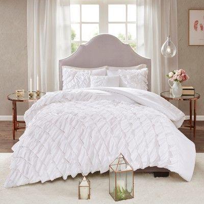 4pc Full Queen Cyndie Ruffled Comforter Set White Ruffle Comforter Comforter Sets Ruffle Duvet Cover
