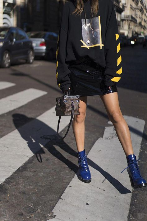 aimee_song_of_style_paris_fashion_week_off_white_hoodie_louis_vuitton_skirt_shoes #streetstyleshoes