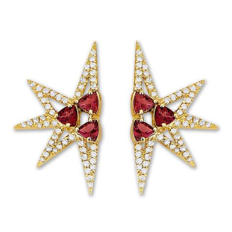 """CAROL KAUFFMANN Shine Mini Ruby Earrings - Rubies are a magical stone, so powerful Dorothy from the """"Wizard of Oz"""" needed ruby slippers to get home. In these 18-karat yellow gold earringss rubies glimmer in the light of white diamonds. They'll help you find your way to where you want to go."""