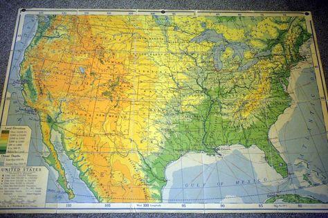 Vintage Nystrom Map Usa Landkarte United States 1946 126x160cm