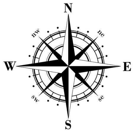 Illustration of Black compass rose isolated on whte vector art, clipart and stock vectors. Image 3561094.