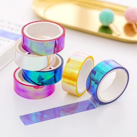 Laser Glitter Washi Tape Candy Colors Decorative Adhesive Masking Tapes For Scrapbooking Girls Diy Albums Stationery Tape Washi Tape Set, Masking Tape, Duct Tape, Diy Album Decoration, Cool School Supplies, Laser Paper, Cute Stationary, Paper Tape, Too Cool For School