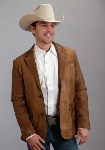 Stetson Mens Brown Leather Western Lamb Blazer Jacket Mens Leather Blazer Bald Men Style Mens Blazer Jacket