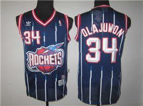 the best attitude 9975c feccc Houston Rockets #34 Hakeem Olajuwon Navy Blue Hardwood ...