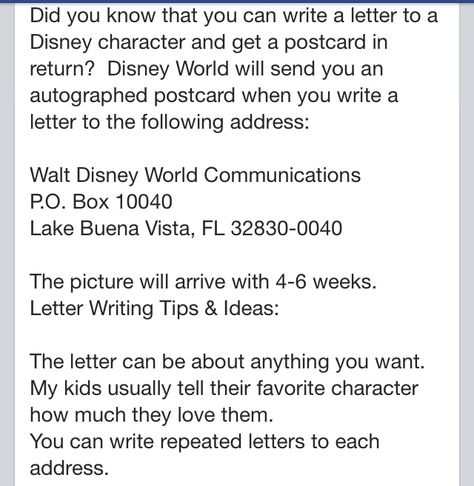 Write letters to Disney characters & get postcards back from them.