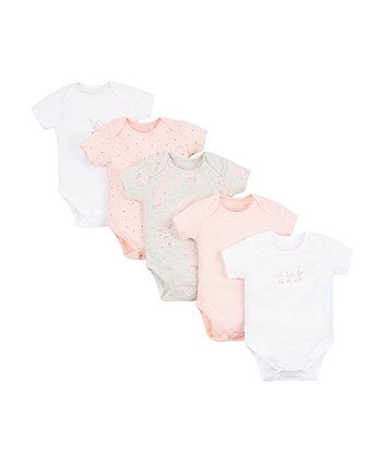 pink, white and grey bunny bodysuits
