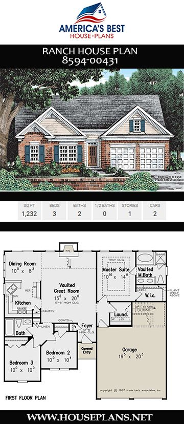 House Plan 8594 00431 Ranch Plan 1 232 Square Feet 3 Bedrooms 2 Bathrooms Ranch House Plan Vintage House Plans Ranch House Designs