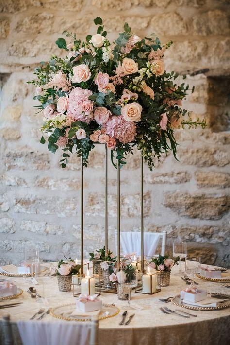 Flower Arrangement Tall Centrepiece Pink Pretty Candles Decor Cherry Blossom Wedding Ideas Sugarbird Photography #FlowerArrangement #TallFlowers #Centrepiece #PinkWedding #PrettyWedding #Candles #WeddingDecor #Wedding