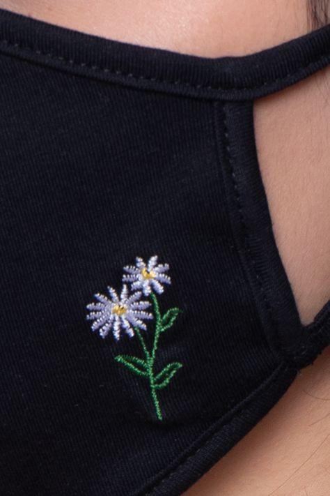 Washable & Reusable Embroidered Face Mask - Flower - Black