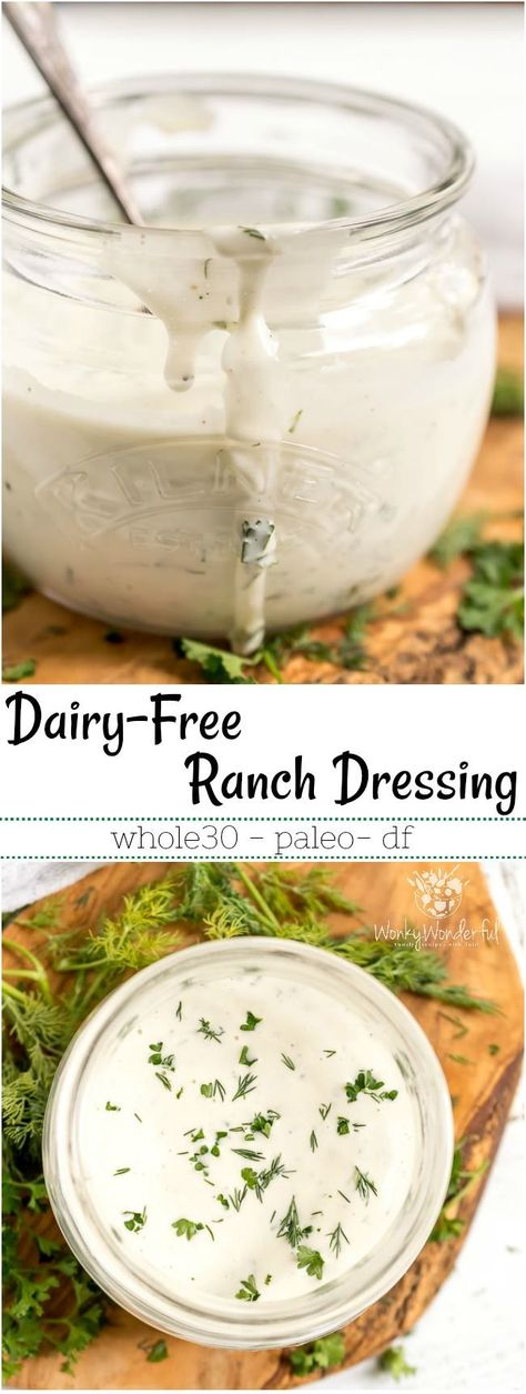 Perfect for dipping, drizzling or slathering, thisDairy Free Whole30 Ranch Dressing is great on just about anything! This Paleo compliant recipe can be made as a ranch dip or dressing depending on your needs. #paleodiet #whole30recipes #paleorecipes #dairyfree #ranchdressing