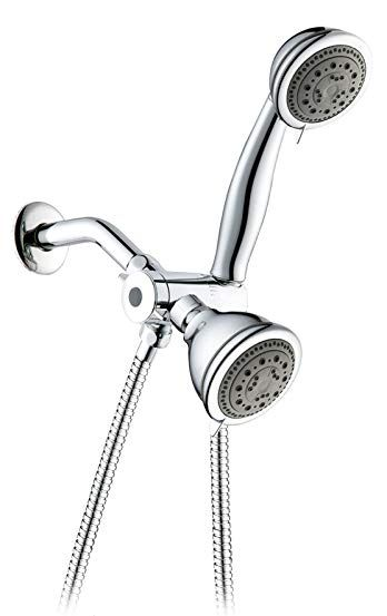 Chrome 5 Function 3 Way 2 In 1 Shower Head Handheld Shower Combo