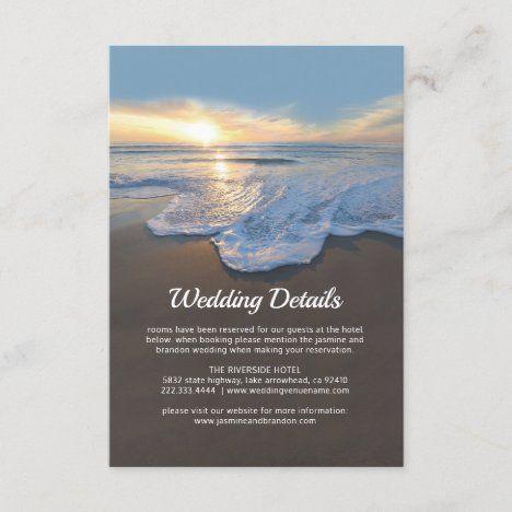 Ocean Beach Seaside Wedding Details Enclosure Card | Zazzle.in