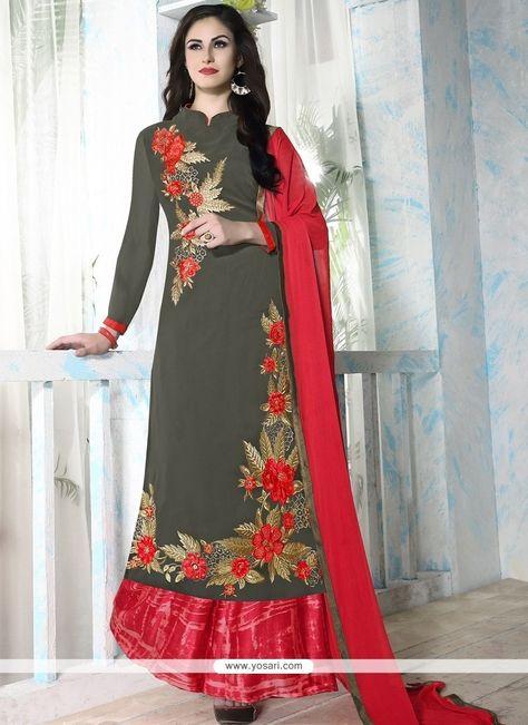 Nice Georgette Grey Designer Palazzo Salwar Kameez Model: YOS8104