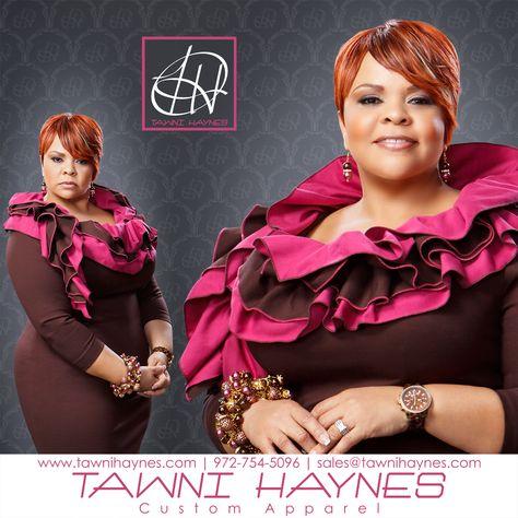 Actress & Recording Artist Tamela Mann in Tawni Haynes Ponte Ruffle Collar Pencil Dress, & Tawni Haynes Edition OMG Custom Accessories.  Tawni Haynes 972-754-5096  www.facebook.com/TawniHaynesCustomApparel