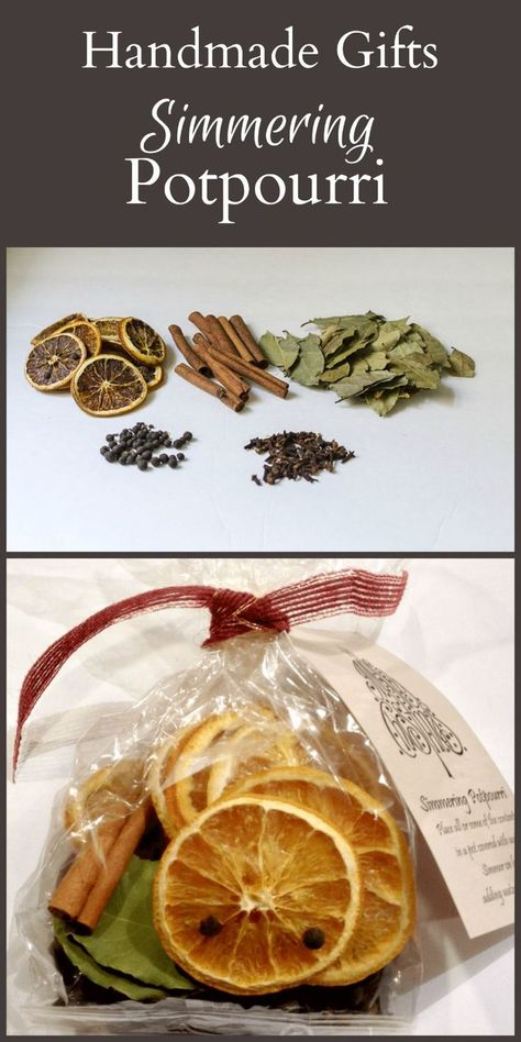 Put together a great homemade gift of simmering potpourri to give to your family and friends at the holidays. Makes a great hostess gift too. More homemade gift Stovetop Potpourri - Perfect Handmade Gifts for the Holidays Homemade Christmas Gifts, Xmas Gifts, Handmade Christmas, Diy Gifts, Christmas Crafts, Christmas Decorations, Christmas Ideas, Diy Christmas Hostess Gifts, Thanksgiving Hostess Gifts