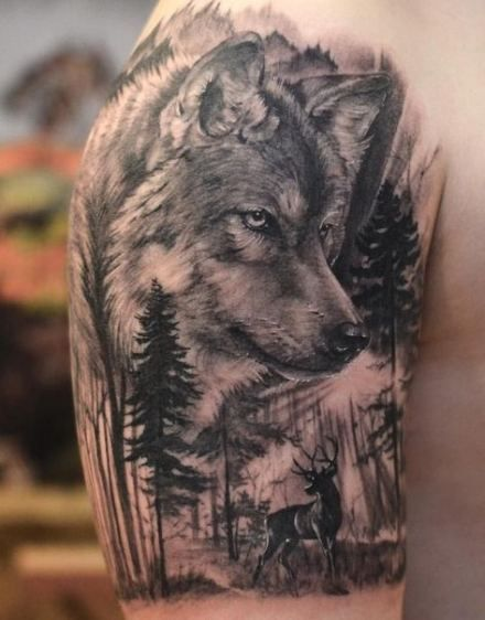 New Tattoo Wolf Family Native American 15 Ideas Forest Tattoos Wolf Tattoo Sleeve Wolf Tattoos Men