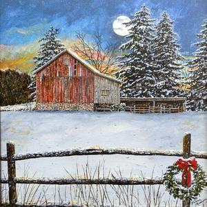 ORIGINAL BARN ART Handpainted Barn Card Winter Landscape Card Snow Scene Art Card