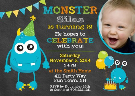 Monster Birthday Party Invitation 1st First Invites