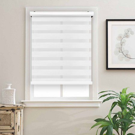 Biltek Cordless Zebra Roller Blinds Sheer Shades Free Stop Combi Blinds Dual Layer Sheer Or Privacy White 51 W X 72 H Walmart Com In 2020 Blinds For Windows Blinds White Paneling