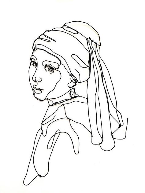 Line Art Girl with a pearl earring Wire wall sculpture Girl portrait Art enthusiast Art lover Icon Wall decor Art Sketches Art art sketches Decor earring enthusiast girl icon LINE Lover pearl Portrait Sculpture Wall WiRE Wire Sculpture, Lovers Art, Line Art Drawings, Wall Sculptures, Art Girl, Sculpture, Art, Portrait Art, Portrait Girl