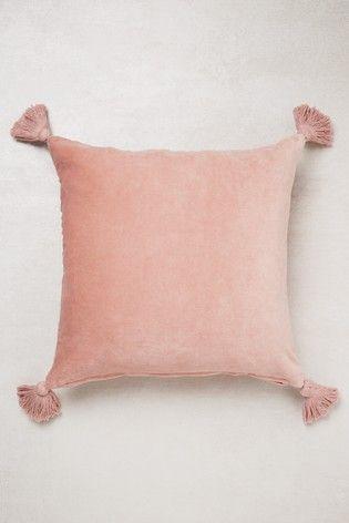 Velvet Tassel Cushion Blush Cushions, Large Throws For Sofas Next