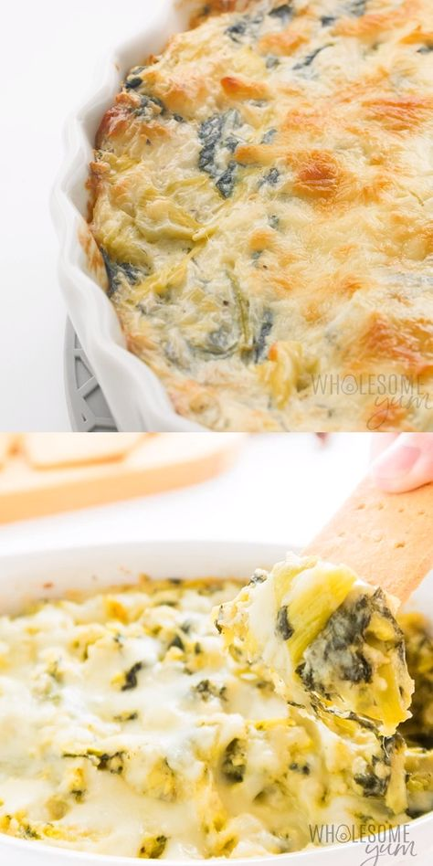 Easy Cheesy Low Carb Keto Spinach Artichoke Dip Recipe - See how to make spinach artichoke dip keto and low carb, yet full of flavor! This cheesy keto spinach and artichoke dip recipe is delicious and EASY. #wholesomeyum #lowcarb #keto #spinach #dip #appetizerrecipes #healthyrecipes #lowcarbrecipes #ketorecipes
