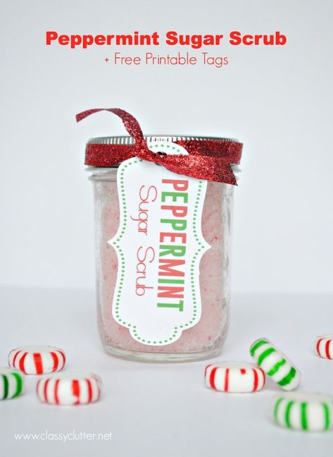 DIY Peppermint Sugar Scrub Recipe + Free printable tags and labels - These cost a little over $1 a jar to make. I made 12 for my girlfriends! So easy and the recipe is amazing!!! www.classyclutter.net #lastminute #giftidea #Christmas #peppermint