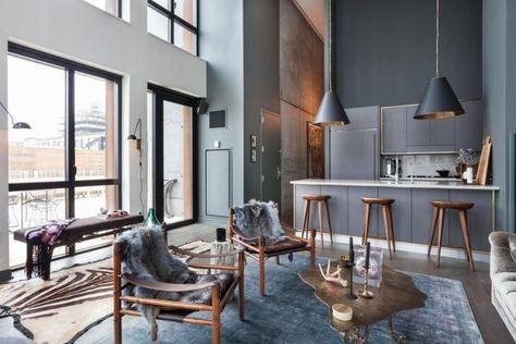maisonette wohnung brooklyn holzmöbel rauchgraue wandfarbe pelze - farbiges modernes appartement hong kong