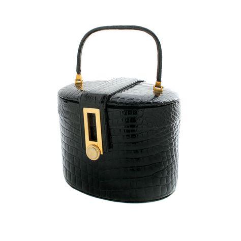 Rendl Pill Box Crocodile Handbag | From a collection of rare vintage handbags and purses at https://www.1stdibs.com/fashion/accessories/handbags-purses/