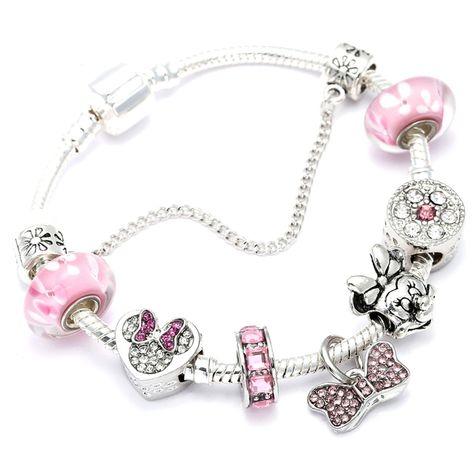 Oro Rosa Love You europeo encanto Pulseras Charm Bead Fits Bolsa De Regalo