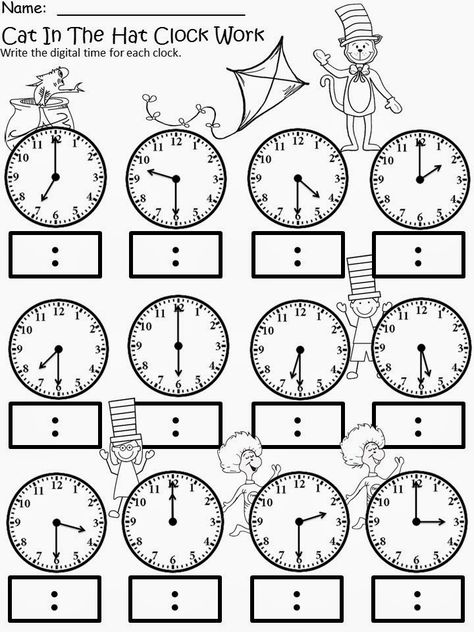 Kindergarten math - Free The Cat In The Hat Clock Work For educational purposes only not for profit Based on the story by Dr Seuss 3 different levels for differentiated instruction Analog and Digital Clocks Enjoy! Regina Davis aka Queen Chaos at Fa Teaching Time, Teaching Math, Teaching Money, Teaching Spanish, Teaching Resources, Teaching Ideas, School Worksheets, Money Worksheets, Clock Worksheets